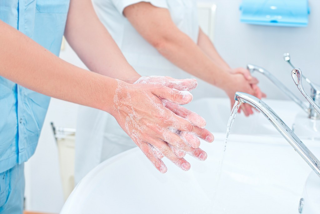 Hospital staff washing hands