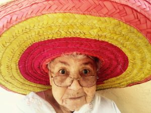Grandma wearing a traditional hat