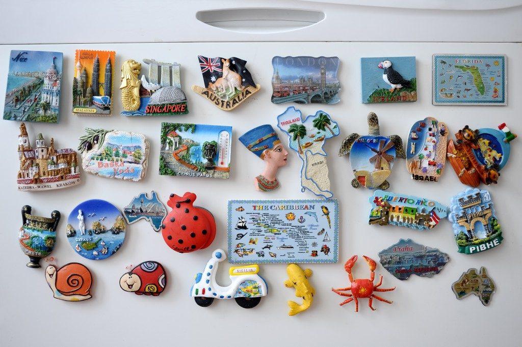 Travel magnets on the fridge
