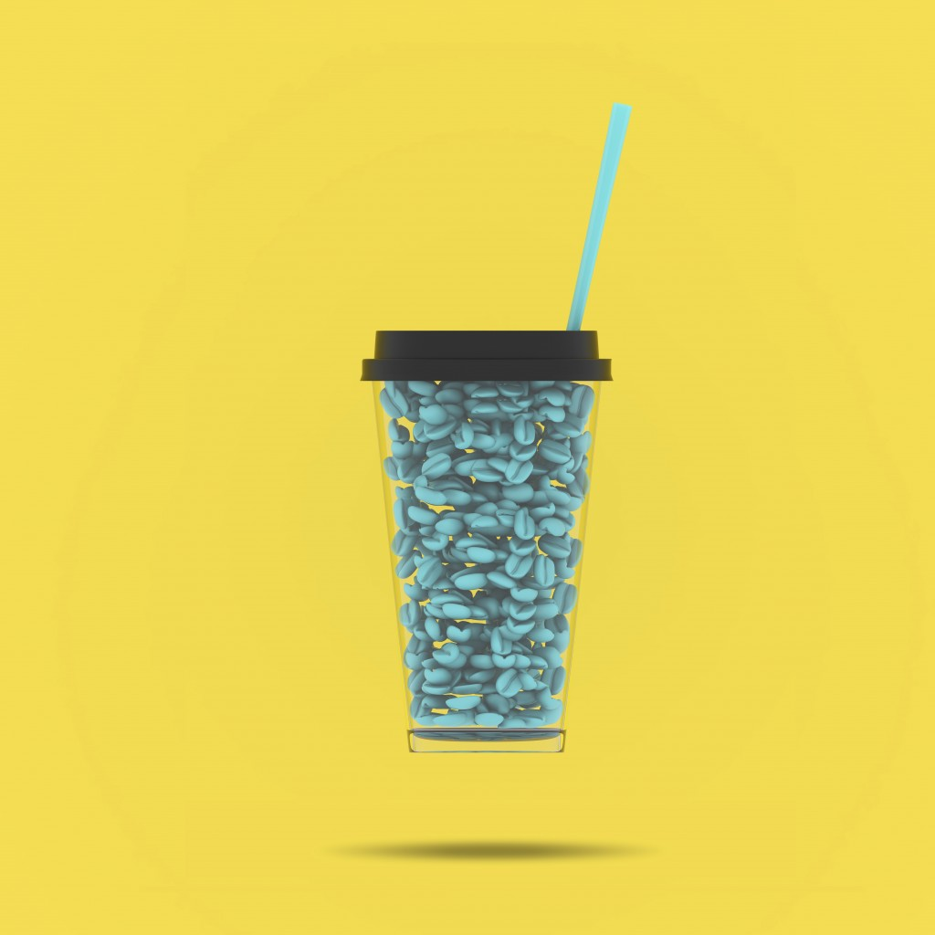 Creative poster of blue coffee beans inside a coffee cup