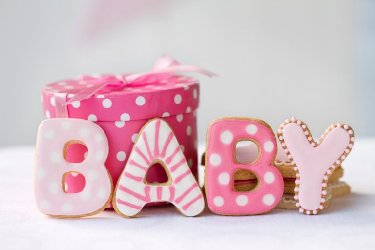 Baby shower cookies and gift