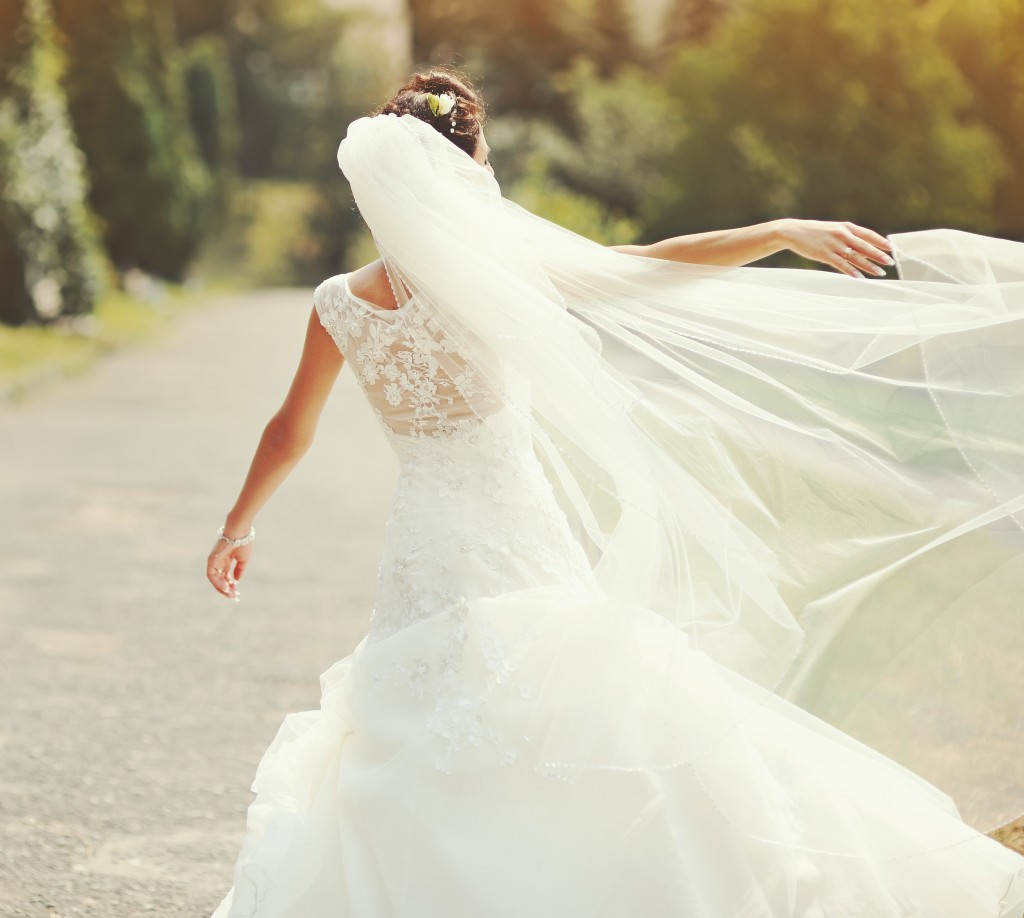 Bride wearing wedding gown