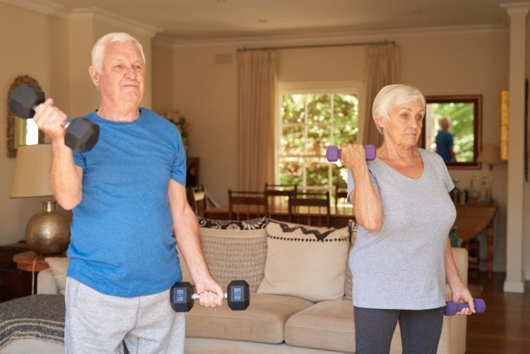 senior couple working out together