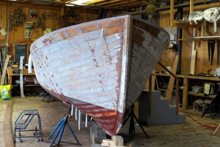 old boat in the shed