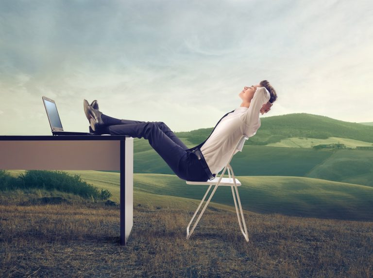 employee relaxing
