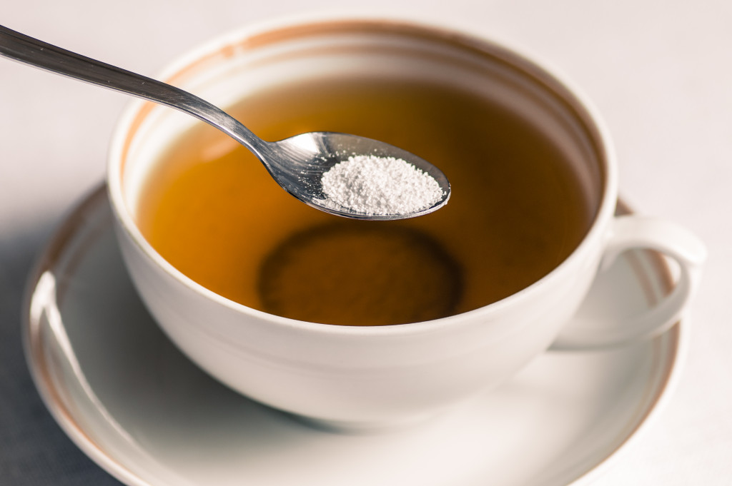 Cup of tea with sweetener